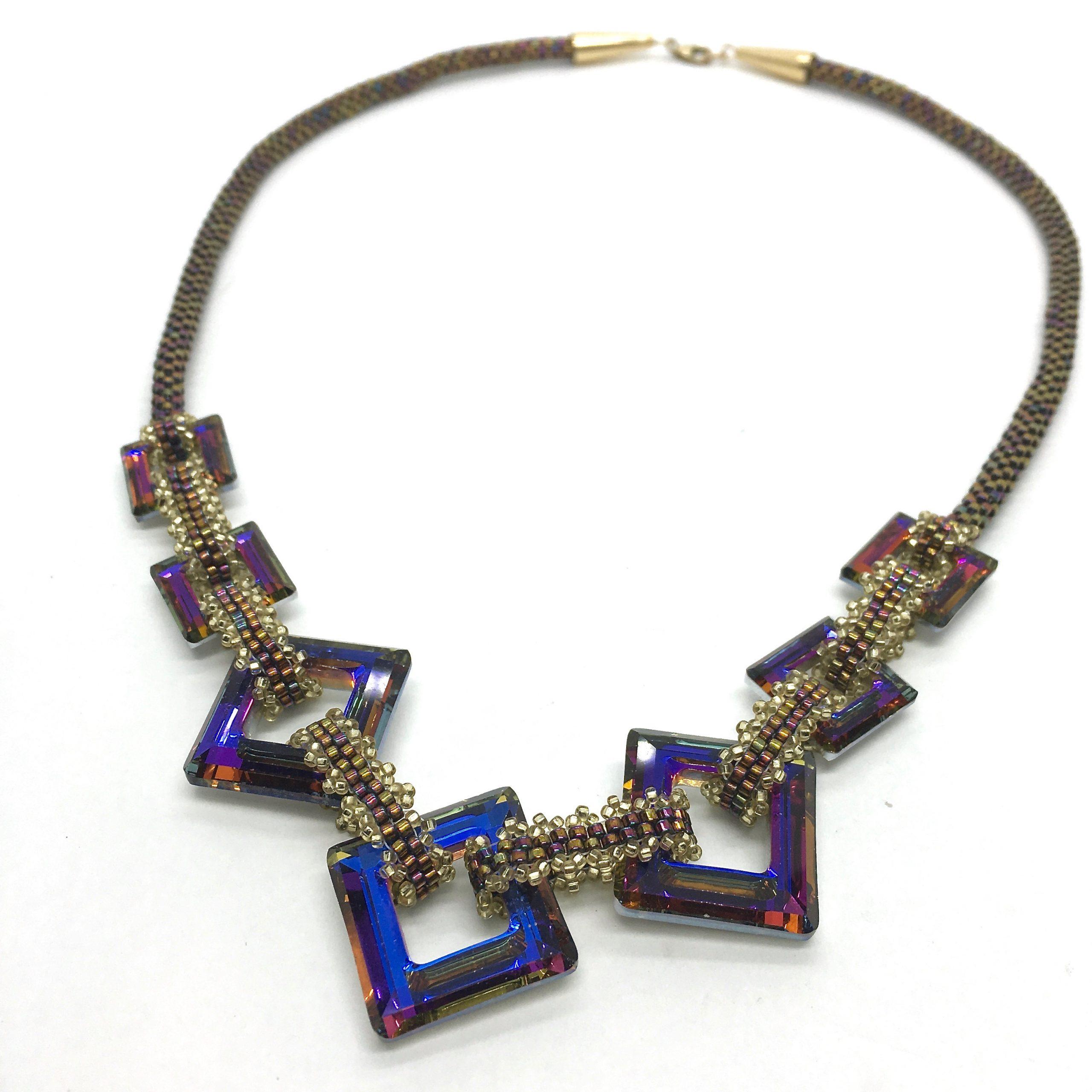 Purple and Copper Open Square Necklace