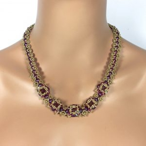 Fuchsia and Gold Beaded Indian Necklace