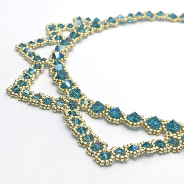 Green Statement Necklace Egyptian Green and Gold