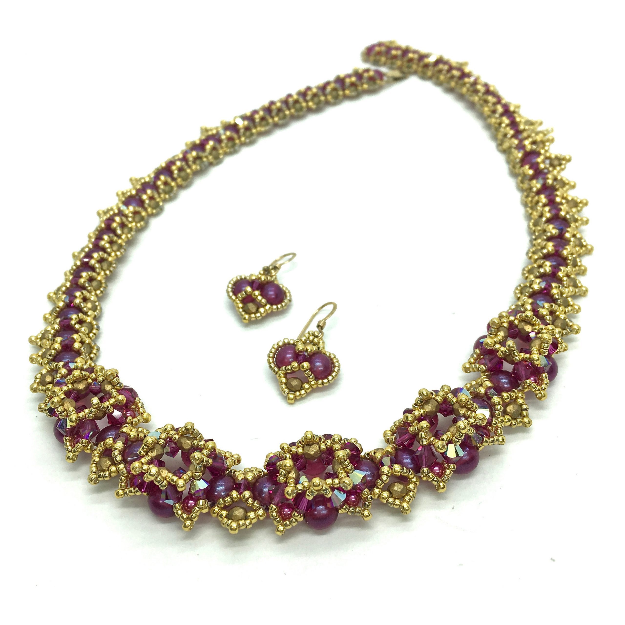 Indian Jewelry set Pink and Gold Beaded Necklace and Earrings