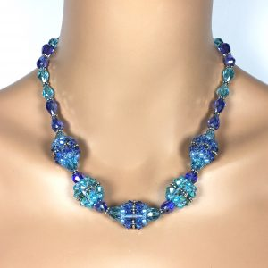 Blue Chunky Necklace Blue Mother of the Bride Jewelry