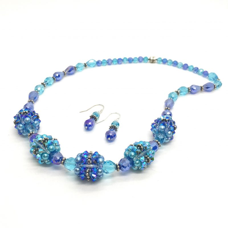 Blue Statement Necklace Mother of the Bride Jewelry Set Chunky Necklace