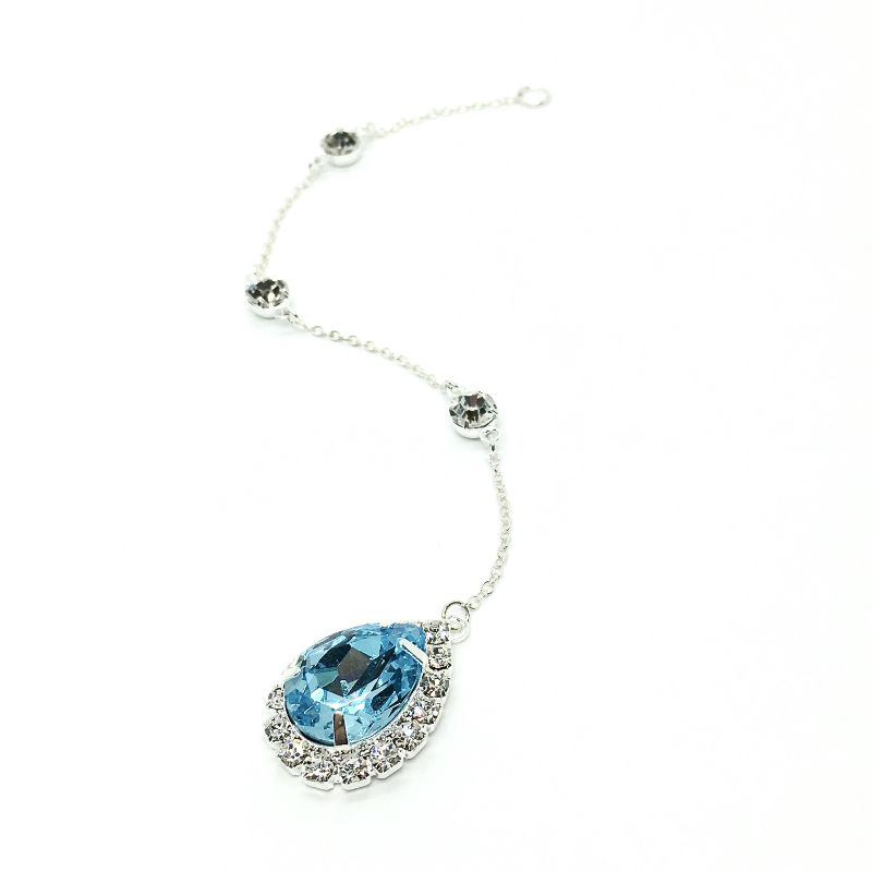 Blue Backdrop Necklace Bridal Large Teardrop Halo Swarovski Crystal Sterling Silver