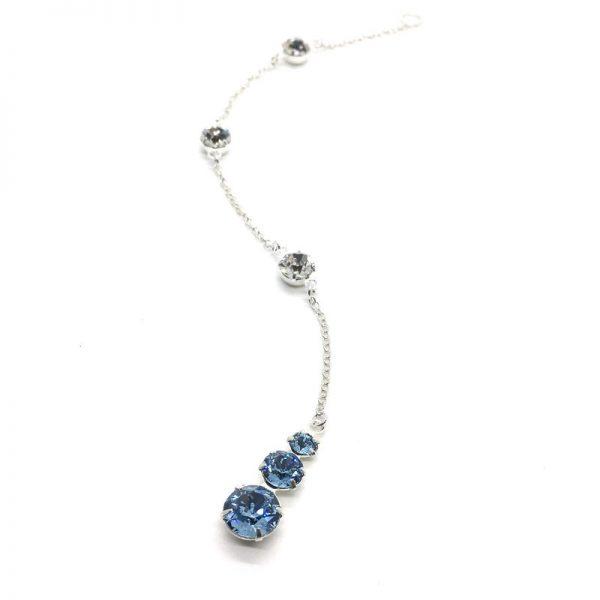 Blue 3 Stone Back Necklace Swarovski Aquamarine Bridal Jewelry Sterling Silver
