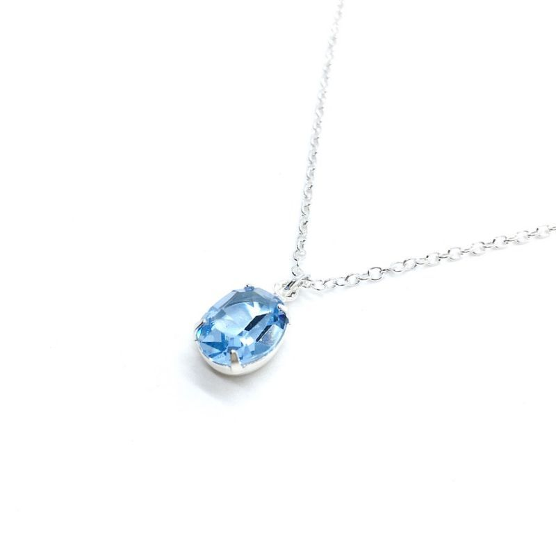 Oval Stone Necklace Something Blue Aquamarine Sterling Silver