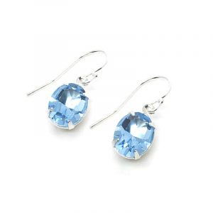 Something Blue Earrings Aquamarine Oval Swarovski Crystal Dangle with Sterling Silver Wires
