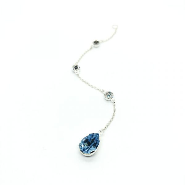 Pear shaped aquamarine bridal backdrop necklace attachment sterling silver