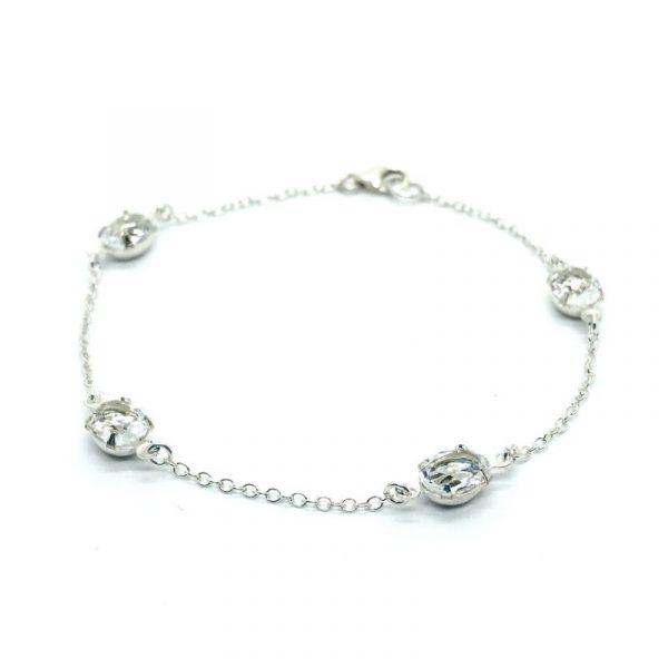 Oval Swarovski Crystal Bracelet Sterling Silver Chain