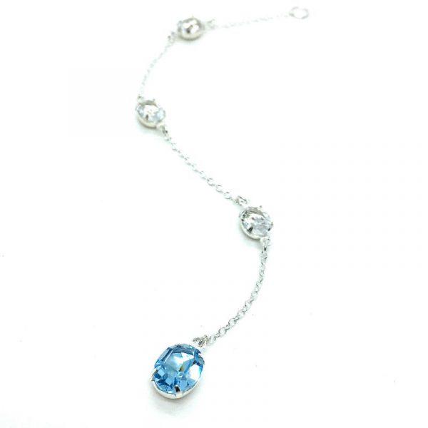 Blue Oval Back Necklace Sterling Silver Aquamarine Swarovski Crystal
