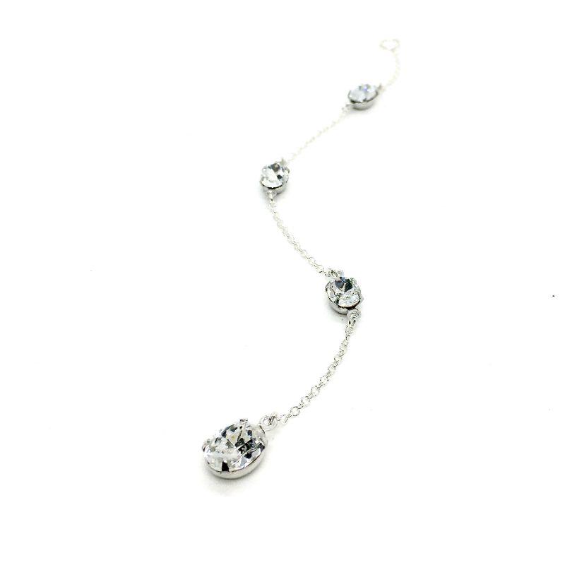 Oval Back Necklace Sterling Silver Swarovski Crystal