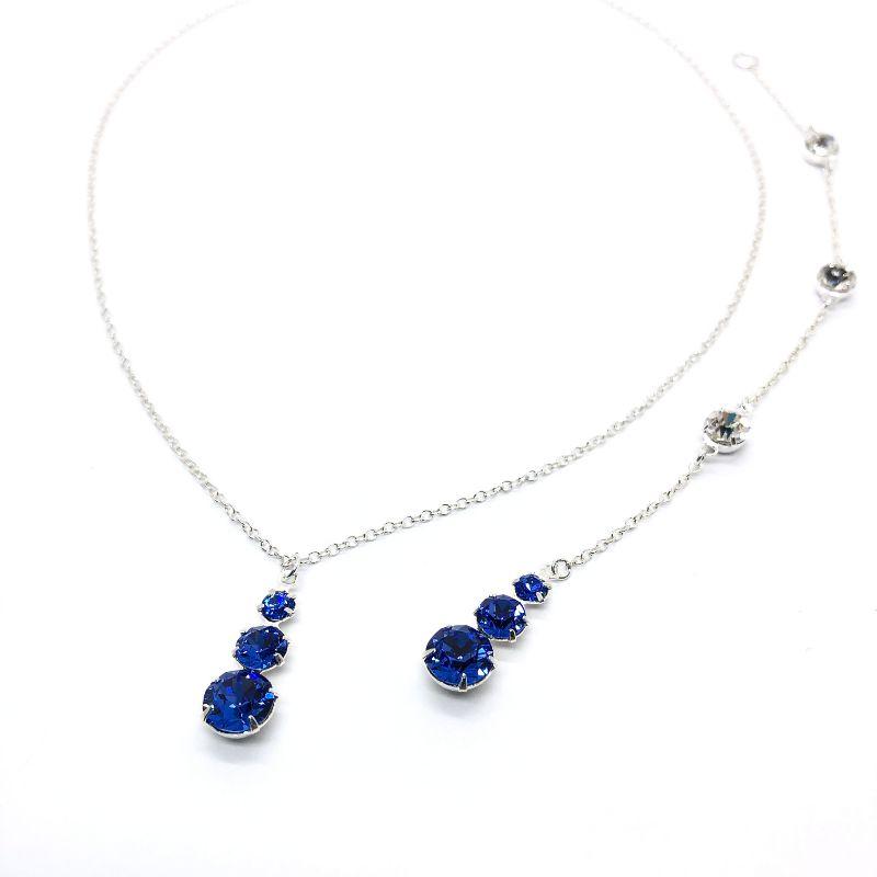 Sapphire Backdrop Necklace 3 Stone Pendant
