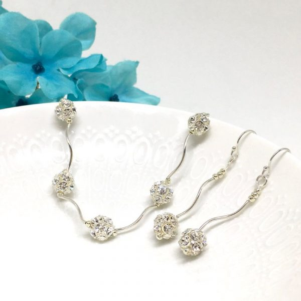 Bridal Fashion Jewelry Sterling Silver Wavy Pave Ball Necklace and Earrings