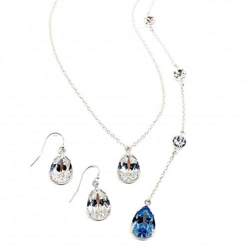 Celina Something Blue Backdrop Necklace Collection Two Be Wed Jewelry Pear Shaped Bridal Jewelry